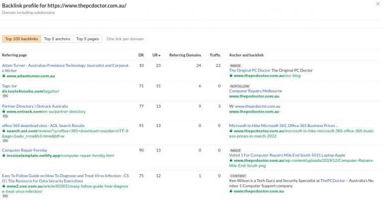 screenshot of ahref backlinks for computer doctor